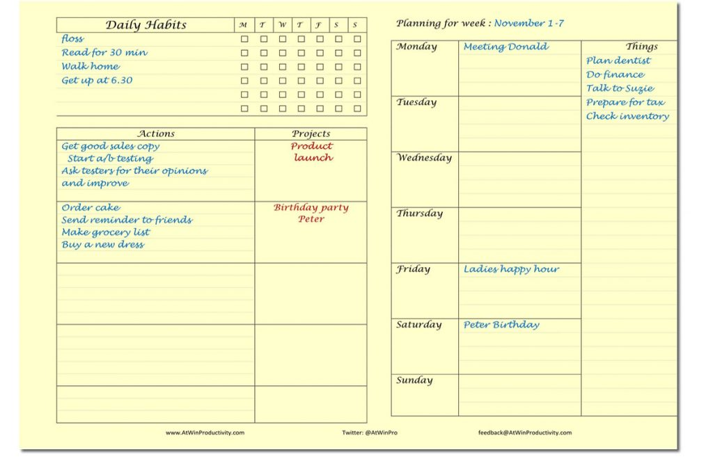 Printable Planners Weekly planner