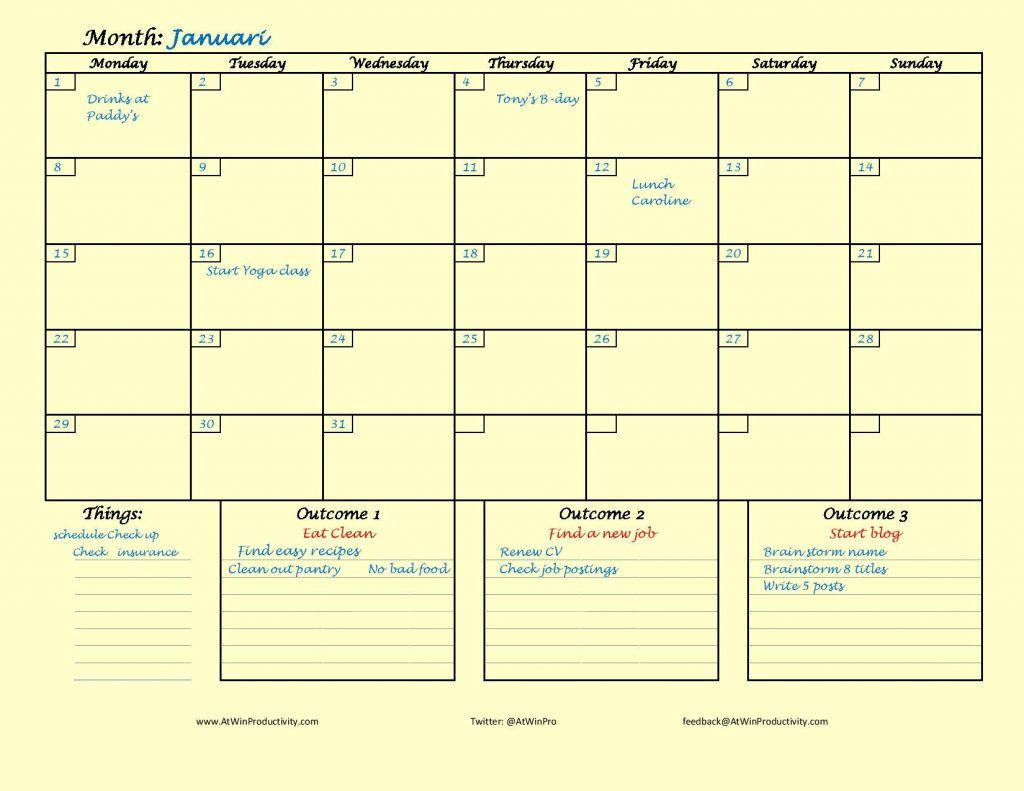 At Win Monthly Planner Example